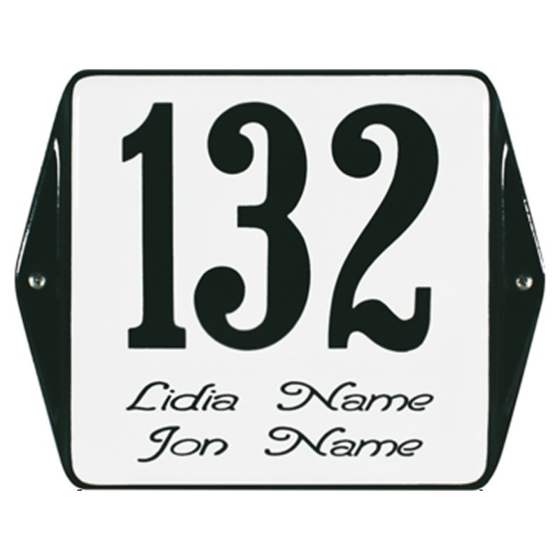 EMAILLEHAUSNUMMERMIT NAMEMIT OHREN 12X12 CM