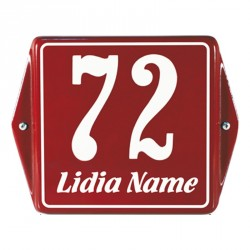 Emaille Hausnummer mit Name+mit Rahmen mit Ohren 12x12 cm