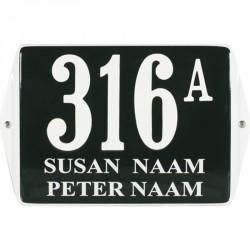 Emaille Hausnummer mit Name mit Ohren 16x12 cm