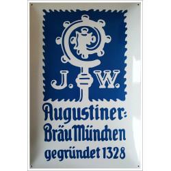 Augustiner Bräu München 40x60cm Emailleschild gewölbt - Emaille Kopien und Repliken