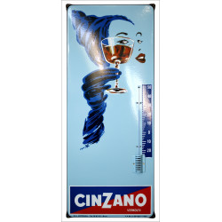 Cinzano Vermuth Thermometer Emailleschild 33x80cm mit Ohren