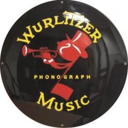 Wurlitzer Music Phonograph Jukebox Musikbox USA Emailschild 50cm gewölbt