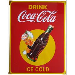 Coca Cola Emailleschild 42x50cm mit Ohren