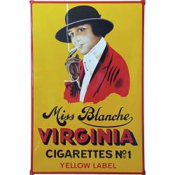 Miss Blanche Virginia Cigarettes Yellow Label Emailleschild mit Ohren 80x120cm