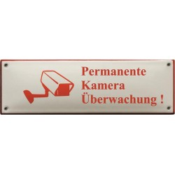 EMAILLE VERBOTSSCHILDE KAMERA  22,5x7cm gewölbt