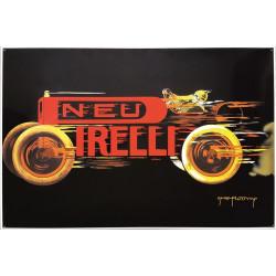 Neu Pirelli Emailleschild 100x60cm gebogene Kanten