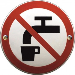 Emaille Verbotschilder Keine Trinwasser  10cm  konvex
