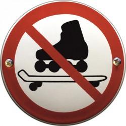 Emaille Verbotschilder Skateborder verboten  10cm  konvex