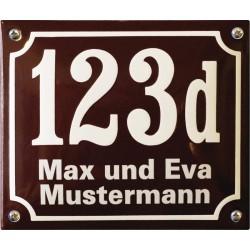 Hausnummer mit Name Niederländisch  19x16 cm, gewölbt