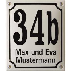 Hausnummer mit Name Niederländisch  16x19 cm, gewölbt
