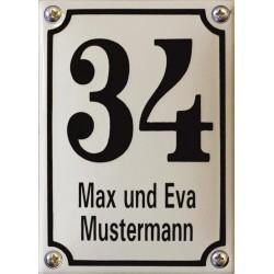 Emaille Hausnummer mit Name Pommern 10x14 cm, gewölbt