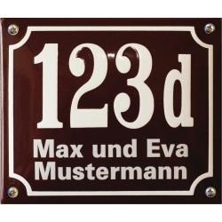 Emaille Hausnummer mit Name Pommern 19x16 cm, gewölbt