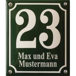 Emaille Hausnummer mit Name Pommern 16x19 cm, gewölbt