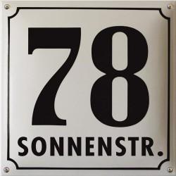 Emaille Hausnummer mit Name Pommern 30x30 cm, gewölbt