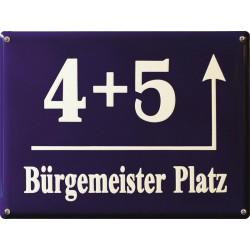 Emaille Hausnummer Münchner 40x30 cm
