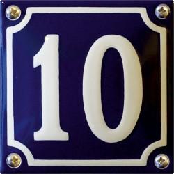 Emaille Hausnummer Niederländisch 10x10cm, gewölbt