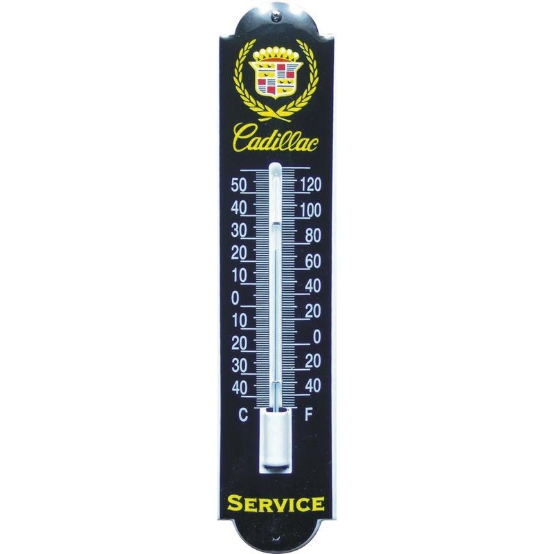 Emaille Thermometer mit Cadillac logo