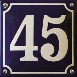 Emaille Hausnummer Niederländisch 16x16cm, gewölbt