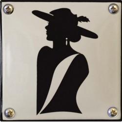 Emaille Toilettenschild Damen 10x10 cm konvex