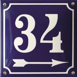 Emaille Hausnummer Pommern 20x20 cm, gewölbt